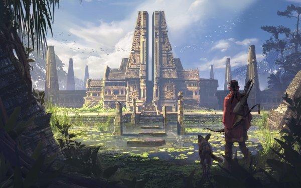 Fantasy Temple Building Dog Hunter HD Wallpaper | Background Image