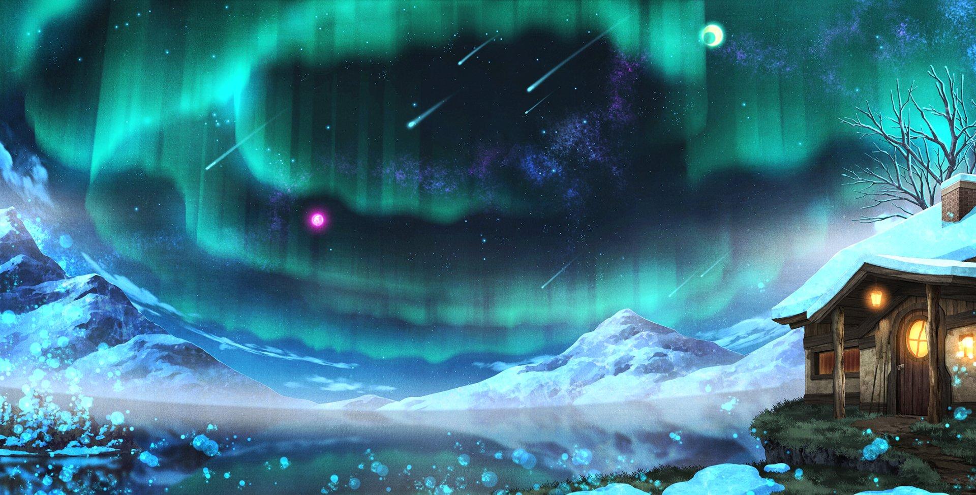 Anime - Original  Mountain House Snow Landscape Night Shooting Star Aurora Borealis Wallpaper