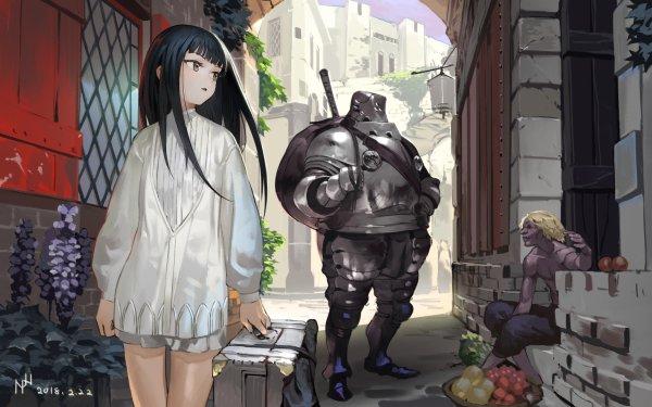 Anime Original Long Hair Black Hair Armor Suitcase Yellow Eyes HD Wallpaper | Background Image