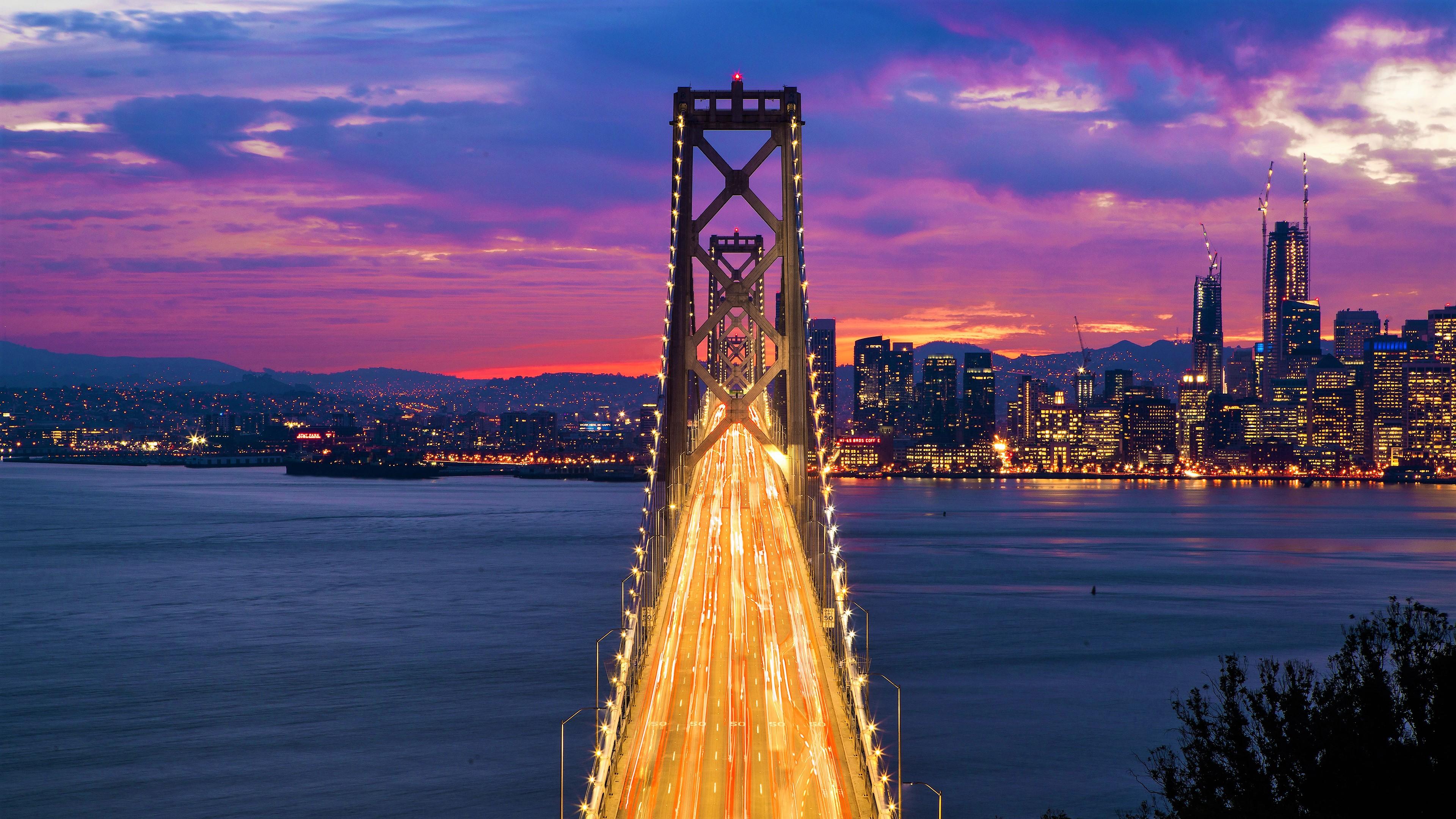 Oakland Bay Bridge At Sunset 4k Ultra Fondo De Pantalla Hd
