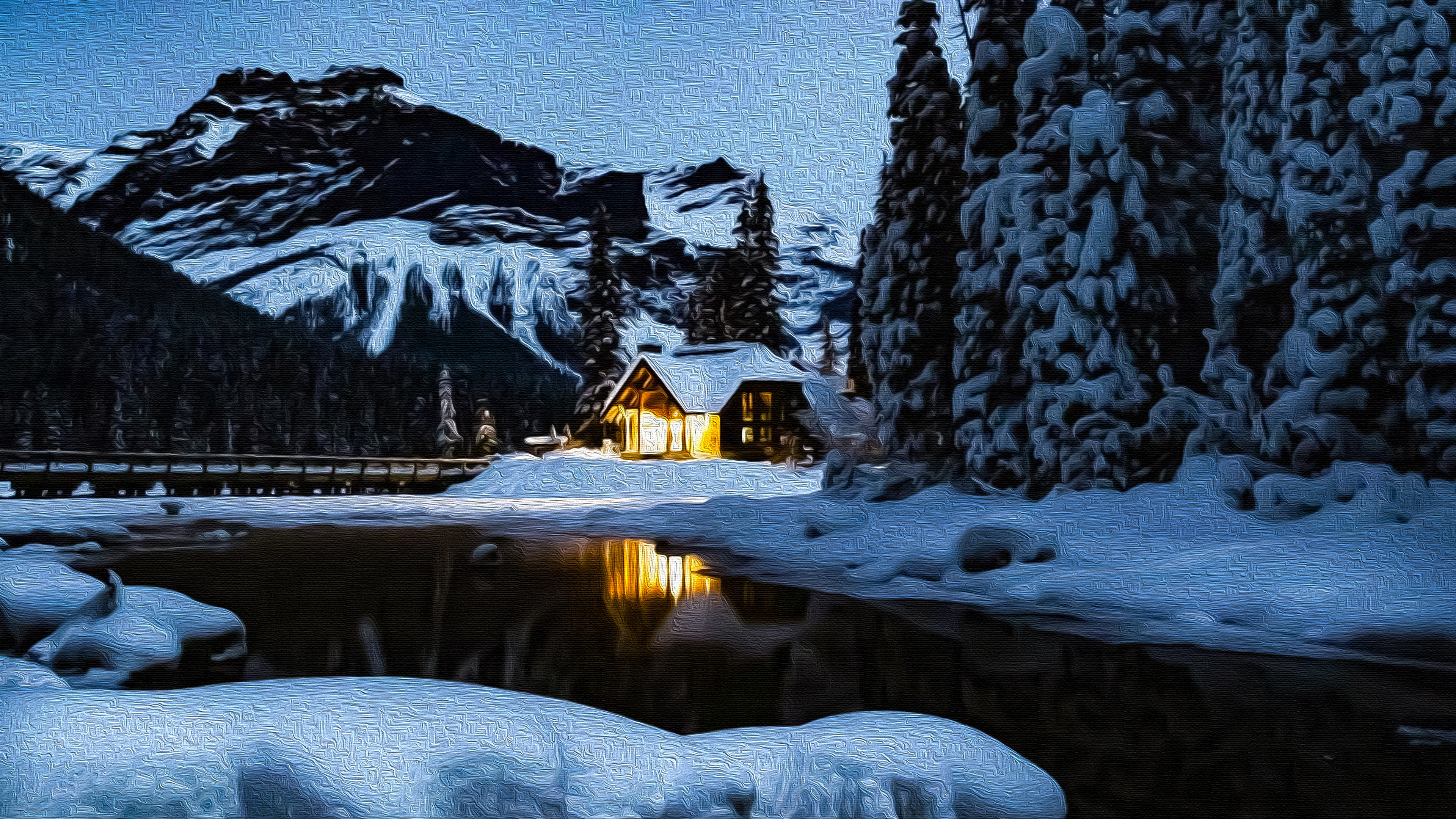 Winter Cabin Oil On Canvas 4k Ultra Hd Wallpaper Background Image 3840x2160 Id 934369 Wallpaper Abyss
