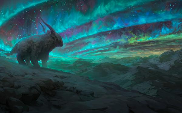 Fantasy Animal Fantasy Animals Landscape Night Aurora Borealis Mountain HD Wallpaper | Background Image