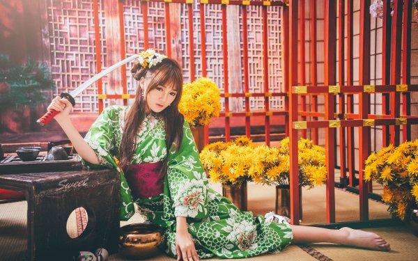 Women Asian Model Kimono Sword Brunette Long Hair Yellow Flower Oriental HD Wallpaper   Background Image