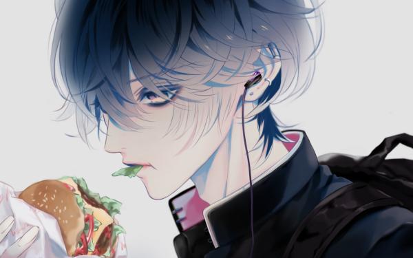 Anime Original Short Hair Black Hair Hamburger Earbuds Yellow Eyes HD Wallpaper | Background Image