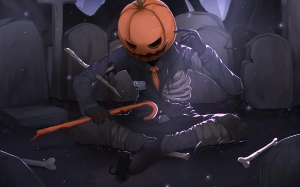 Anime Original Pumpkinhead Halloween Skeleton Bones HD Wallpaper | Background Image