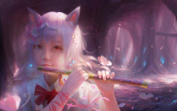 Anime Original Flute Animal Ears HD Wallpaper | Background Image
