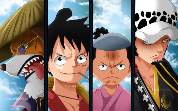 Anime One Piece Inuarashi Trafalgar Law Monkey D. Luffy Kozuki Momonosuke HD Wallpaper | Background Image