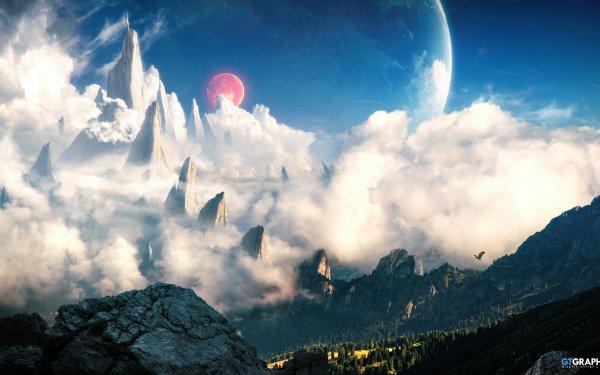 Fantasy Landscape Mountain HD Wallpaper | Background Image