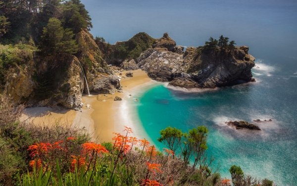Earth Big Sur McWay Falls HD Wallpaper   Background Image