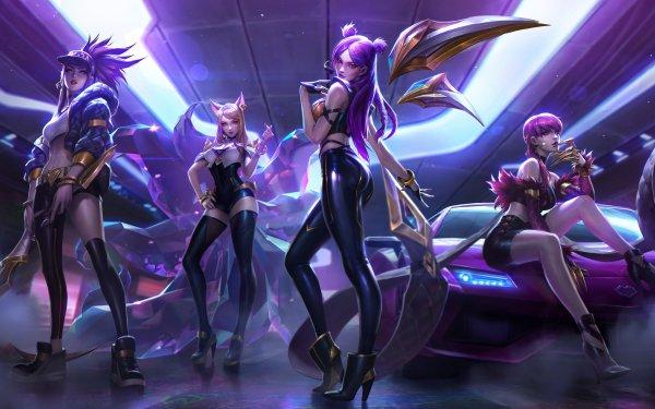 Videojuego League Of Legends Akali Ahri Kai'Sa Evelynn K/DA Fondo de pantalla HD | Fondo de Escritorio