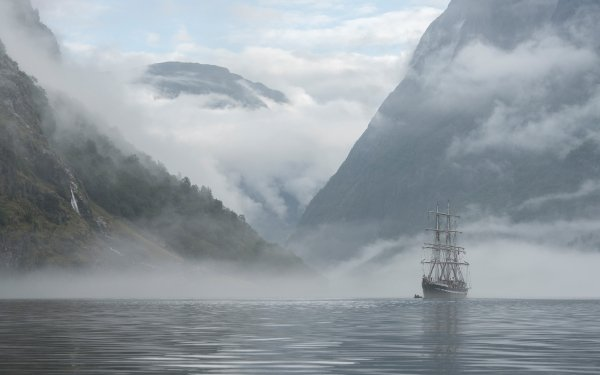 Vehicles Ship Mountain Norway HD Wallpaper   Background Image