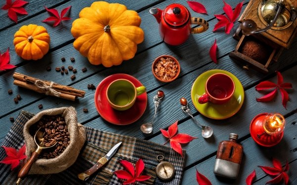 Photography Still Life Coffee Beans Cinnamon Cup Grinder Lantern Knife Spoon Compass HD Wallpaper | Background Image