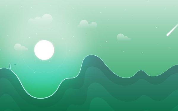 Artistic Landscape Moon Green HD Wallpaper | Background Image