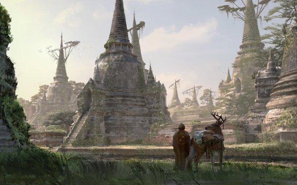 Fantasy Temple Building Deer Traveler HD Wallpaper | Background Image