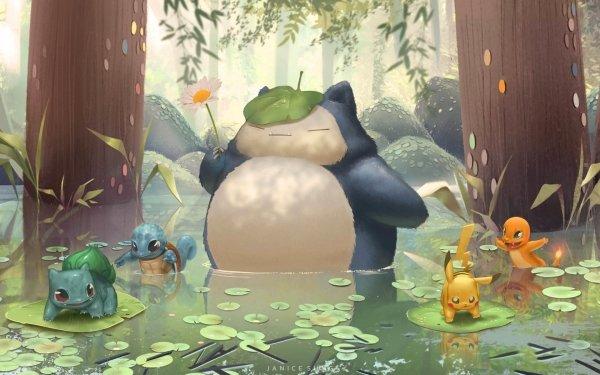 Anime Pokémon Snorlax Bulbasaur Charmander Pikachu Squirtle HD Wallpaper | Background Image