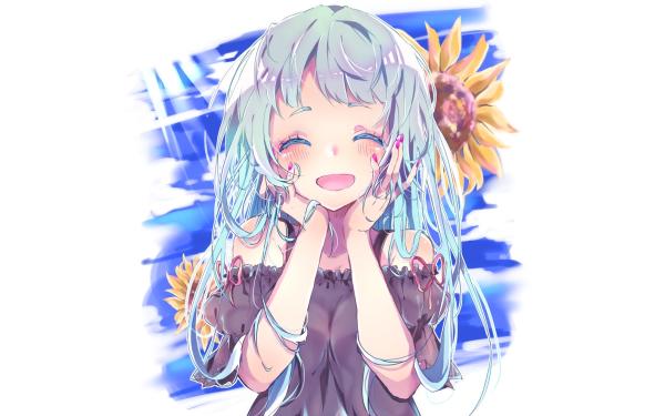 Anime Chica Blue Hair Girasol Fondo de pantalla HD | Fondo de Escritorio