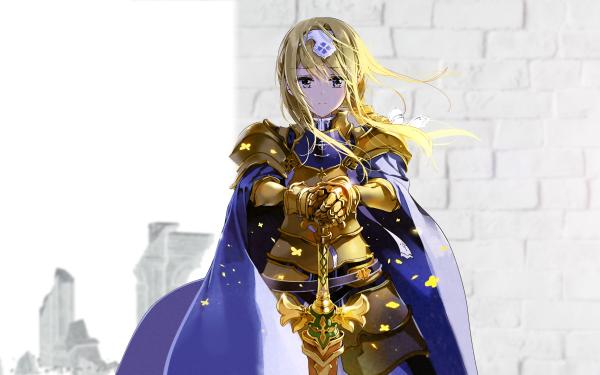 Anime Sword Art Online: Alicization Sword Art Online Alice Zuberg Armor Sword Cloak Blonde Long Hair HD Wallpaper | Background Image