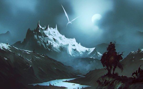Fantasy Warrior Landscape Mountain Dragon Horse HD Wallpaper   Background Image