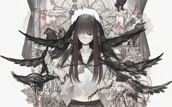 Anime Original Long Hair Black Hair Ave Eye Patch Bandage Black Eyes Fondo de pantalla HD | Fondo de Escritorio