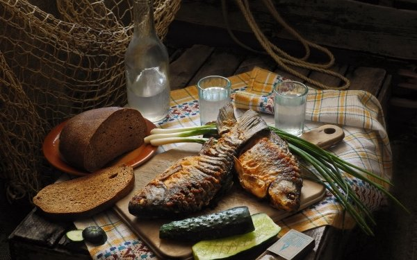 Food Still Life Fish Seafood Bread Drink Pickle HD Wallpaper | Background Image