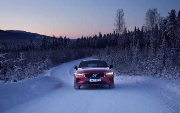 Vehicles Volvo V60 Volvo Car Red Car SUV Luxury Car Winter HD Wallpaper   Background Image