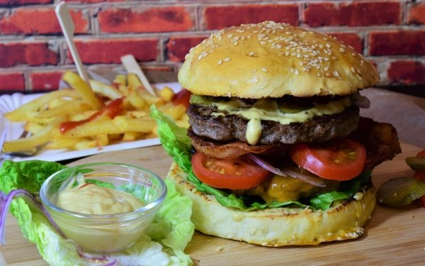 Food Burger French Fries HD Wallpaper   Background Image