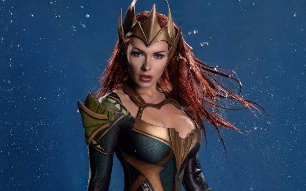Women Cosplay Mera DC Comics Redhead Blue Eyes Stare HD Wallpaper | Background Image