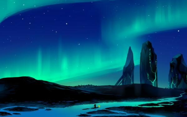 Fantasy Landscape Aurora Borealis River HD Wallpaper | Background Image