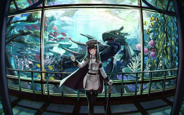 Anime Urbild Long Hair Black Hair Cap Drake Fish Sword Orange Eyes HD Wallpaper | Background Image