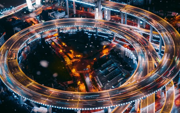 Man Made Highway Night Time-Lapse Road Shanghai China Nanpu Bridge HD Wallpaper | Background Image