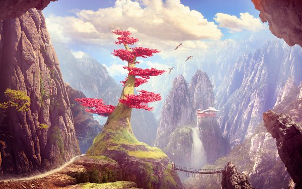 Fantasy Landscape Tree Waterfall Mountain HD Wallpaper   Background Image