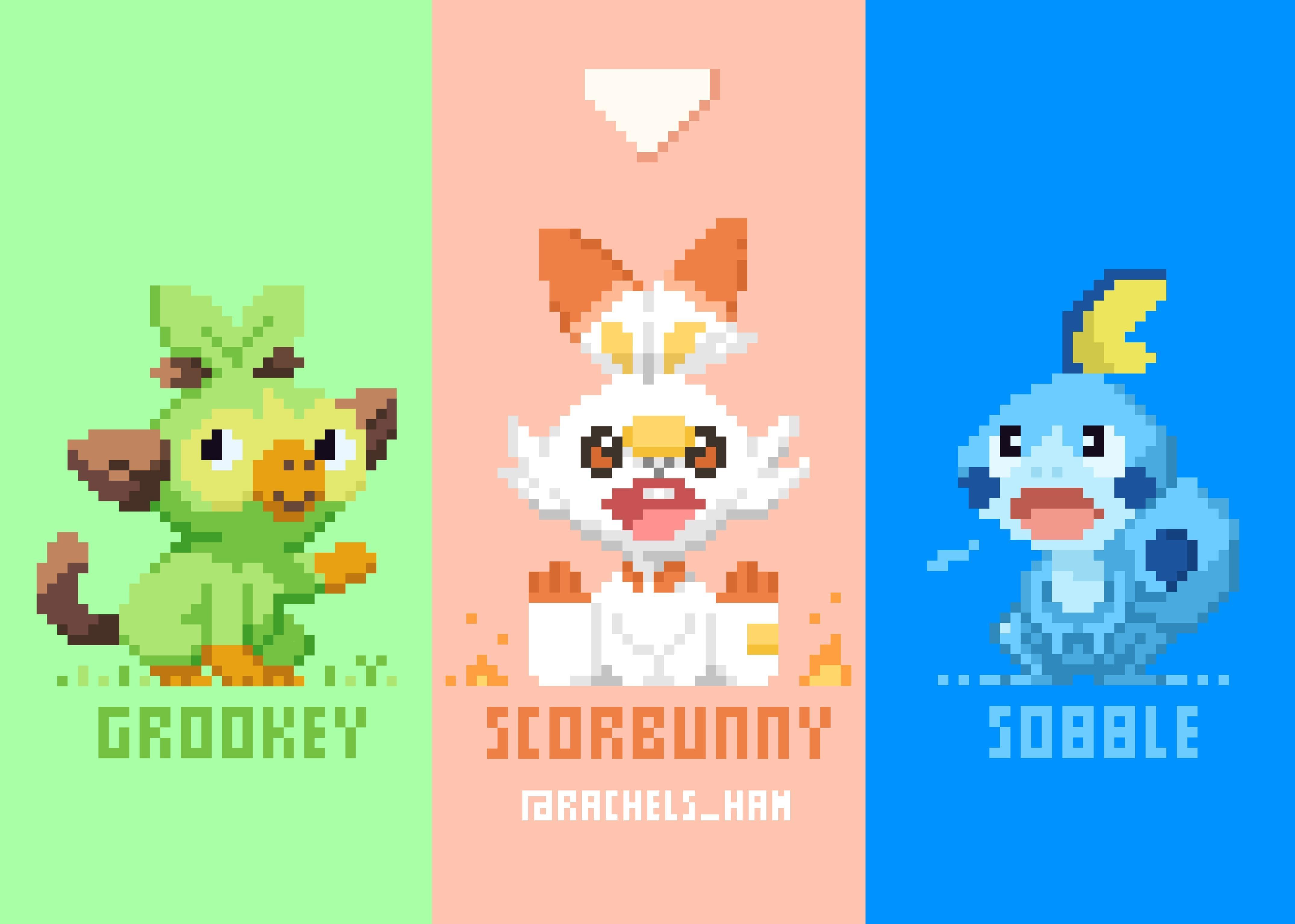 Pokemon Sword Shield Starters In Pixels 4k Ultra Hd Wallpaper