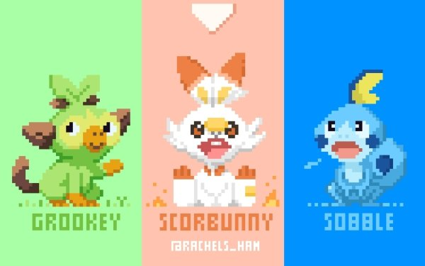 Videojuego Pokemon: Espada Y Escudo Pokémon Grookey Sobble Scorbunny Fondo de pantalla HD | Fondo de Escritorio