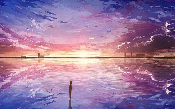 Anime Original Sunset Silhouette City Bird HD Wallpaper | Background Image