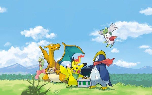Video Game Pokémon Mystery Dungeon: Explorers of Sky Pikachu Charizard Meganium Shaymin Prinplup HD Wallpaper | Background Image