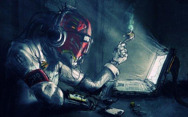 Sci Fi Steampunk Laptop Smoking HD Wallpaper | Background Image