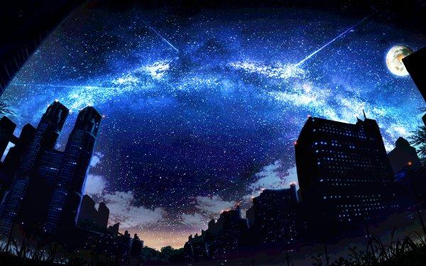 Anime City Stars Moon HD Wallpaper | Background Image