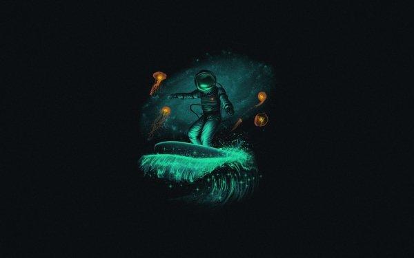 Sci Fi Astronaut Jellyfish Surfing HD Wallpaper   Background Image