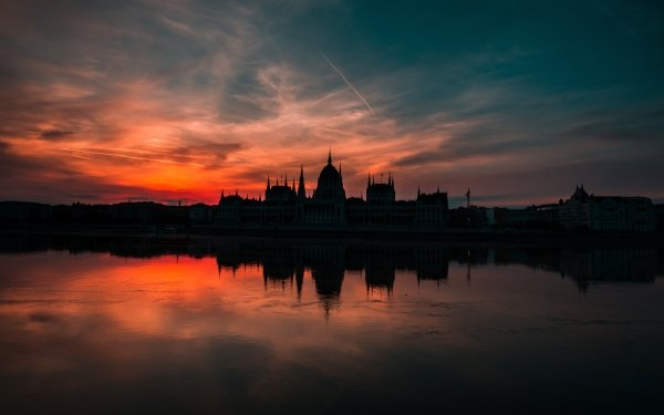 Man Made Hungarian Parliament Building Monuments Hungary River Danube Reflection Evening Sunset HD Wallpaper | Background Image